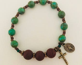 Green Jasper Essential Oil Single Decade Rosary Bracelet