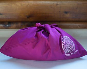 AQUA Bento style cotton project bag with hand carved block print - knitting, crochet, lunch bag, gift bag, bento bag