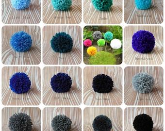 Set of 6 Yarn Pom Poms - Size Large - 3 inch