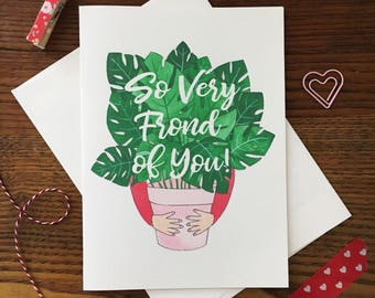 Monstera Leaf Card. Monstera Plant. Pun Card. Plant Pun. Love Card. Same Sex Card. Blank Card. Valentines Day Card. Friend Card. Plant Lover