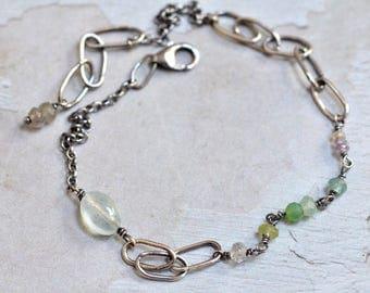 Aquamarine Bracelet - Oxidized Sterling Silver Link Bracelet - Dainty Bracelet - Apatite Bracelet - Chrysoprase Bracelet - Peridot Bracelet