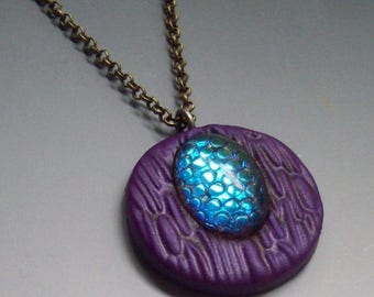 HALF OFF SALE Pendant Polymer Clay Purple with Snakeskin Cabochon