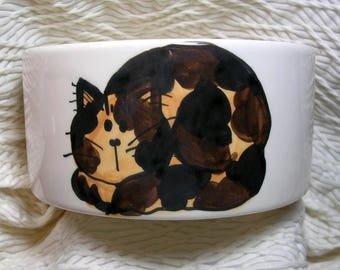 Tortie Cat Medium Pet Bowl Handmade by GMS Paw Prints Inside 20 Oz. Ceramic
