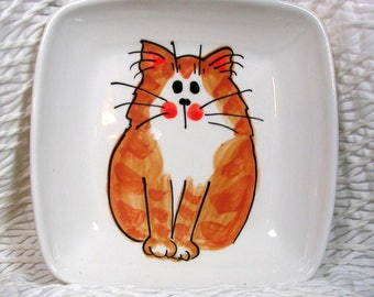 Ginger Striped Tabby Cat Original Design Painted On Square Dish Handmade Ceramic by Grace M Smith