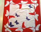 Vintage Vera scarf, sheer COTTON butterfly scarf, red white blue bandana