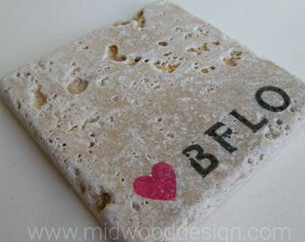 Love Buffalo stone tile travertine coasters set of 4