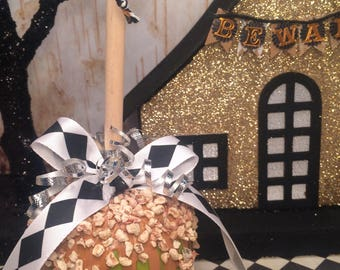 Caramel apple decoration candy apple ornament green apple fall decor halloween ornament carnival theme black and white