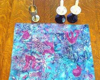 Batik Purple sea green turquoise Challah cover Shabbat centerpiece mat Hebrew reversible applique Pomegranates, engagement wedding gift