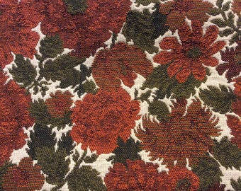 1 Yard of Vintage Brown and Burnt Orange Floral Print Textured Upholstery Fabric