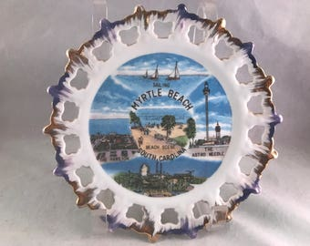 Vintage Myrtle Beach South Carolina Lace Edge Souvenir Plate