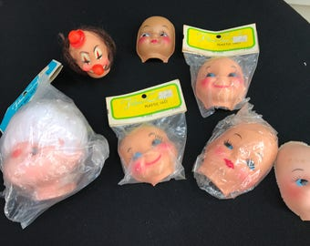 Lot of 7 Vintage Doll Heads and Faces (Some are New in Package)