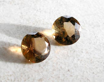 Smoky Quartz Gemstone Solitaires 8mm Round Faceted Vintage For Jewlery Making