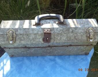 Primitive galvanized metal tool box with latching closure