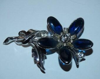 Vintage Brooch Bards 56 Crystal Flower Brooch, Elegant, Rich Sapphire Blue Crystals, Spring Time Flowers