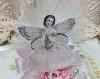 Altered Fairy Art Doll, Spool Fairy Doll, Altered Art, Vintage Spool Fairy, Altered Art Doll, Christmas Decor, Christmas Fairy