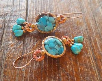 Genuine Turquoise Earrings - Sleeping Beauty -  Blue Turquoise - Cowgirl Earrings - Copper Earrings - Western Jewelry - Southwestern