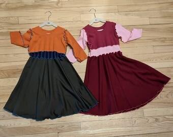 6-8 Year Bamboo Fleece Year Dress - Cozy Dress for Girls - Warm Winter Dress for Kids - Handmade from All Natural & Organic Fabrics
