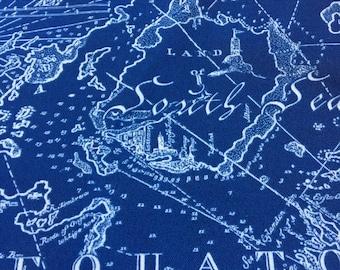 """Navy Blue Map fabric indoor/outdoor piece 16""""X 34""""  plus"""