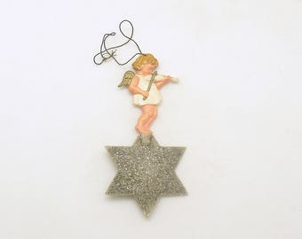 Vintage Christmas Ornament Angel on Star Violin West Germany Christmas Decoration