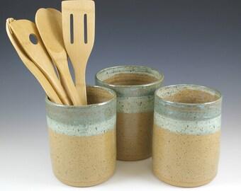 Ceramic Pottery Kitchen Utensil Holder, Spoon Holder, Wedding Shower Gift, Farmhouse Pottery Bridal Shower Gift, Kitchen Gift Idea Spoon Jar