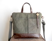 Fourre-tout en cuir & toile militaire, sac cabas bandoulière - eco tissus vintage