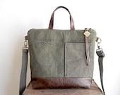 Military canvas & leather tote, crossbody tote bag - eco vintage fabrics