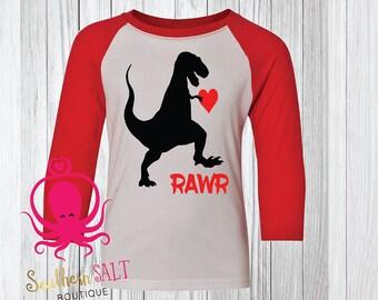 Rawr Dinosaur Valentine's Day Kids Shirt - Youth Shirt