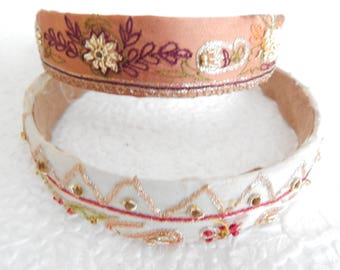 Cream and mauve embroidered headbands for women, 1 inch headbands