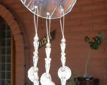 Sale Butterfly Windchime Iridescent Clear Glass