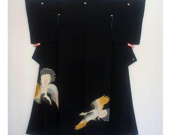 Soaring Hawk - Vintage Japanese Five Crested Kurotomesode Women's Silk Kimono Wedding