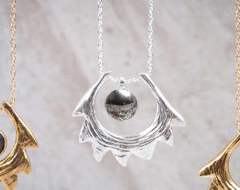 Spire Shell Necklace | Sterling Silver and Pyrite Necklace | Statement Necklace