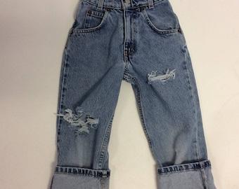Kids Raw Destroyed Levi Skinny Jeans 6