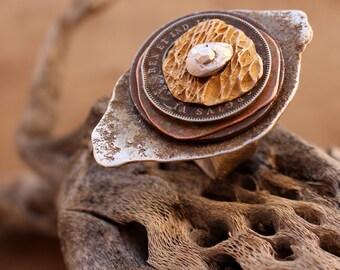 Riveted Eye Ring + Adjustable Size 8 to 9 + Desert Primitive + Talisman + Evil Eye + Protection + Vintage Coins + Wabi Sabi