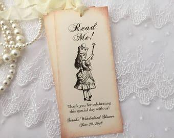 Alice in Wonderland Bookmarks, Alice Bookmark Favors, Wonderland Bookmarks, Set of 10