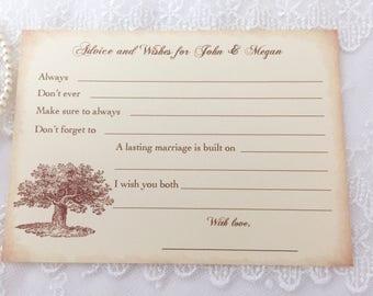 Tree Wish Cards, Tree Advice Cards, Oak Tree Wedding Advice Cards, Rustic Woodland, Set of 10
