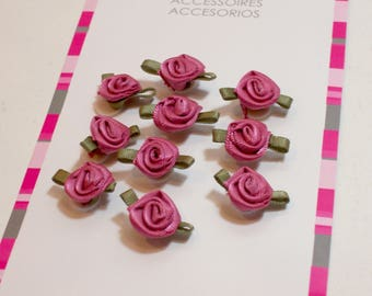 Mauve Pink Rose Flower Appliques, Offray Small Ribbon Rose Satin Flowers X 10 pieces