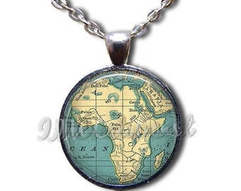 25% OFF - Africa Road Map Glass Dome Pendant or with Chain Link Necklace MP108