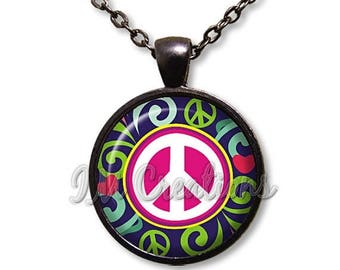 25% OFF - Retro Peace Sign Glass Dome Pendant or with Chain Link Necklace VT115