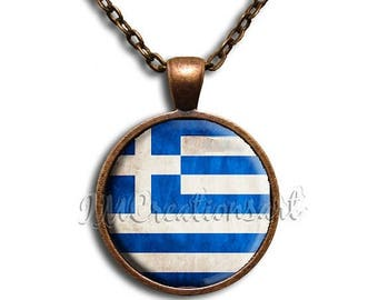 20% OFF - Greek Greece Flag Glass Dome Pendant or with Chain Link Necklace SM129