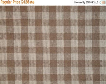 SALE SALE SALE Large Check Material | Homespun Material | Taupe Large Check Material |  Cotton Material | Home Decor Material | Quilt Materi