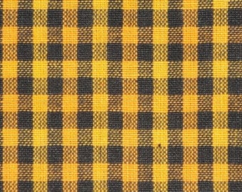 Check Fabric | Homespun Fabric | Primitive Check Fabric | Black And Gold Check Fabric | Sewing Fabric | Rag Quilt Fabric | Cotton Fabric