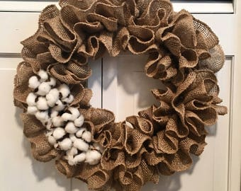 Charming Ruffled Burlap Wreath with Cotton Accents - Thanksgiving Harvest - House Warming - Home Decor - Farmhouse - Christmas - Autumn Fall