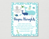 Nautical Under The Sea Diaper Thoughts Game / Under The Sea Shower / Nautical Baby Shower / Late Night Diapers / INSTANT DOWNLOAD A179