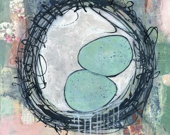 Nest Art, Bird Art, Colorful Art, Nest Painting, Original Artwork, Eggs, Birds, Eclectic Art, Nest 20x20