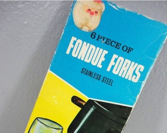 CLEARANCE 50% OFF - Vintage Mid-Century Stainless Steel Fondue Forks - Set of 6 in Original Box