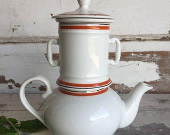 Apilco Teapot Porcelain 4 Part D'Auteuil France Single Serve Restaurantware Tea pot
