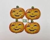 Orange Pumpkin, Dresden Die Cut, Paper Scrap, Halloween Decoration, Made in Germany