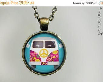 ON SALE - Magic Bus : Glass Dome Necklace, Pendant or Keychain Key Ring. Gift Present metal round art photo jewelry by HomeStudio