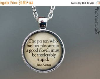 ON SALE - Jane Austen (Novel) Quote jewelry. Necklace, Pendant or Keychain Key Ring. Perfect Gift Present. Glass dome metal charm by HomeStu