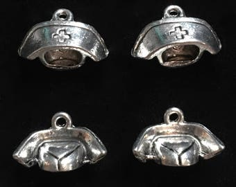 4 Silver Pewter Nurses Hat Charms, Nurse Charms, Medical Charms  (qb124)